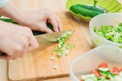 Close-up of gentle female hands slice on the wooden board the stalks of green onions making salad. The concept of a. Vegetarian healthy food and lifestyle Royalty Free Stock Image