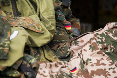 Close up on German flag on military uniform royalty free stock images