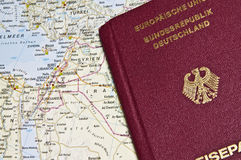 Close-up of a German Passport with a map of the Middle East Royalty Free Stock Photography
