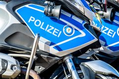 Close-up of German police motor bike. In the sun Royalty Free Stock Images