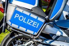 Close-up of German police motor bike. In the sun Royalty Free Stock Photos