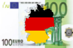 Close up on Germany on euro 100 banknote Stock Photos