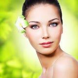 Close-up gezond gezicht van jonge vrouw Royalty-vrije Stock Fotografie