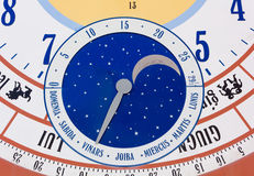 Close-up on Giant Calendar Wall Clock Stock Images