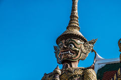 Close up giant guard face at Wat Pha Kaew Stock Photography