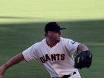 Close-up of Giants Closer Brian Wilson warms up to close game Stock Photos