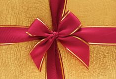 Close up of the gift box. With red ribbon Stock Photo