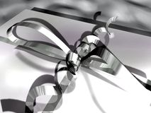 Close-up of a gift box (ribbon and bow) Stock Images
