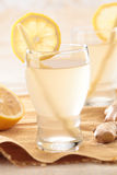 Close up ginger lemon drink. Close up of ginger and lemon drinking juice Royalty Free Stock Images
