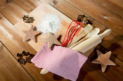Close up of gingerbread and baking kitchenware set Royalty Free Stock Image