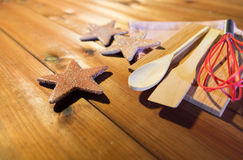 Close up of gingerbread and baking kitchenware set Stock Image