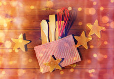 Close up of gingerbread and baking kitchenware set Royalty Free Stock Photo