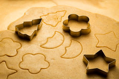 Close-up of gingerbread cookies cut Royalty Free Stock Photography