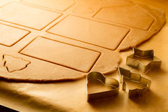 Close-up on gingerbread cookies cut elements Royalty Free Stock Images