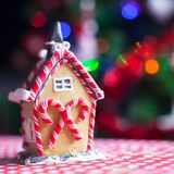 Close-up Gingerbread fairy house decorated by Royalty Free Stock Photos