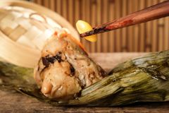 Close up of ginkgo nuts with zongzi. Stock Image