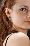 Close-up girl. Girl face, close-up, on black royalty free stock photography