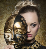 Close-up of girl with baroque mask Royalty Free Stock Photo