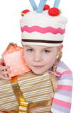 Close-up of girl with boxes of gifts Royalty Free Stock Photos