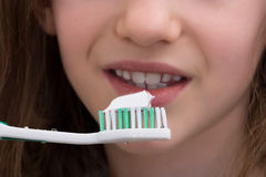 Close-up Of Girl Brushing Teeth Stock Photography