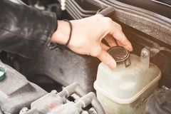 Close up girl checks the level of coolant in the engine of her car Royalty Free Stock Photo