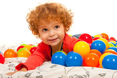 Close up of girl with colorful balls Stock Image