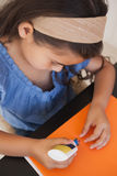 Close-up of a girl doing craftwork Royalty Free Stock Photos