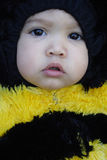 Close-up of girl dressed like a bee. Close-up of a girl dressed like a bee Royalty Free Stock Photo