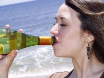 Close-up of a girl drinking Royalty Free Stock Photography