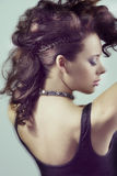Close-up of girl with fashion hairstyle moving blur effect Royalty Free Stock Photo
