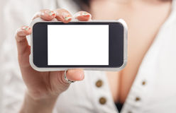 Close-up of a girl hand showing a horizontal blank smartphone sc Stock Photography