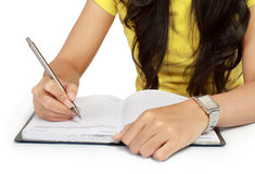 Close-up of a girl hand writing Royalty Free Stock Photos