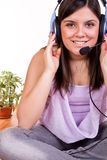 Close-up of girl with headphones Stock Photo