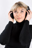 Close-up of a girl with headphones Royalty Free Stock Photo