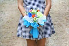 Girl holding beautiful bouquet stock photo