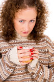 Close-up girl holding a cup of tea Stock Photography