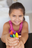 Close-up of a girl holding drawing colors Stock Photo