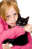 Close up of girl and kitten Stock Image