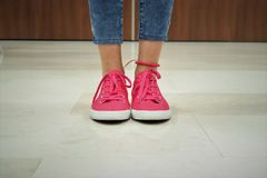 Pink sneakers Royalty Free Stock Images