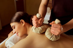 Close-up of a girl massage in  spa salon Royalty Free Stock Image