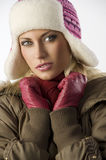 Close up of girl with pink hat Royalty Free Stock Images