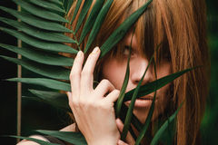 Close-up of girl`s eyes and hands in ferns royalty free stock photography