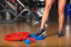 Close-up of a girl`s foot, in the gym. stock photo