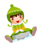 Close-up of girl. Is sledging Stock Photo
