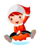 Close-up of girl. Is sledging Royalty Free Stock Photography
