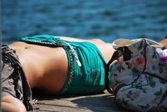 Close up of a girl sunning Royalty Free Stock Photos