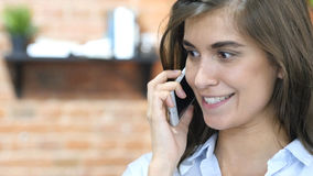 Close Up of Girl Talking on Phone, Negotiation Stock Photography