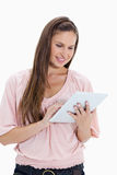 Close-up of a girl using a touchpad Stock Photography