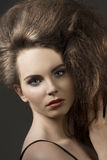 Close-up of girl with voluminous hair Royalty Free Stock Photo