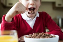 Close Up Of Girl Wearing School Uniform Eating Bowl Of Sugary Br. Eakfast Cereal Stock Images